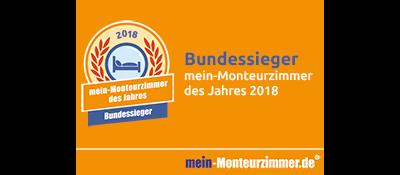 Bundessiegerplakette - mein-Monteurzimmer des Jahres 2018