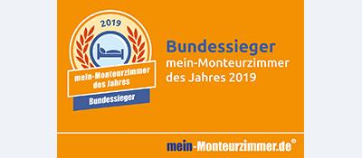 Bundessiegerplakette - mein-Monteurzimmer des Jahres 2019