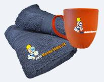 Handtücher und Tassen von mein-Monteurzimmer.de